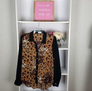 Vintage Leopard Print Sheer Blouse SZL